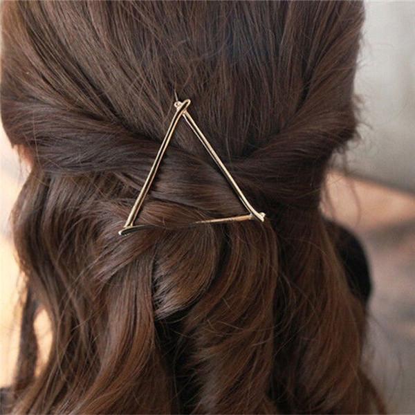 Chica de moda oro plata simple elegante metal geométrica ronda triángulo horquilla pinzas para el cabello accesorios para el cabello