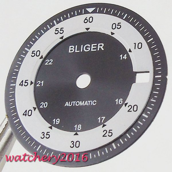 28.5mm Bliger Black White Watch Dial Date Window fit Miyota 8215 MingZhu 2824 movemetn