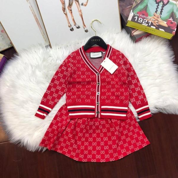 Vestidos de dos piezas Traje de los niños 2018 Otoño e invierno Ropa para niños Hombre niña Pantalones de bebé Suéter Conjunto de ropa para niños Twinset