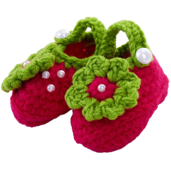 57e4dfbc4 Newborn Baby Infant Girls Pearl flower Crochet Knit Socks Crib Shoes  Prewalker 0-12 Months(Type 4)
