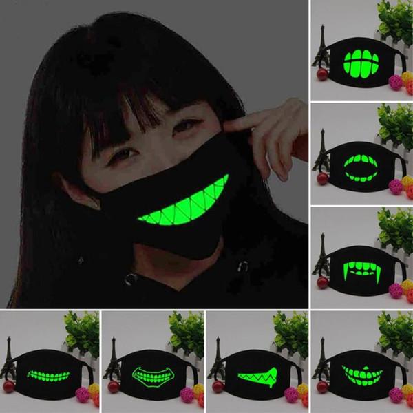 300 pcs Boca Máscara Luz no escuro Anti poeira manter quente Fresco Máscara Unisex Preto Noctilucent Algodão Máscara Facial L3