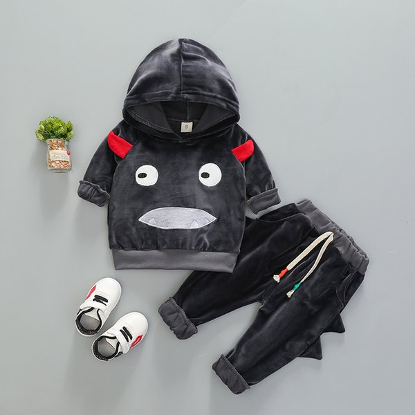 Kids Monster Hooded Clothes Set Boys Fashion Autumn Outfits Sportswear Girl Casual Clothing Suits Cute Infant Babies Spring Clothes 80-110CM