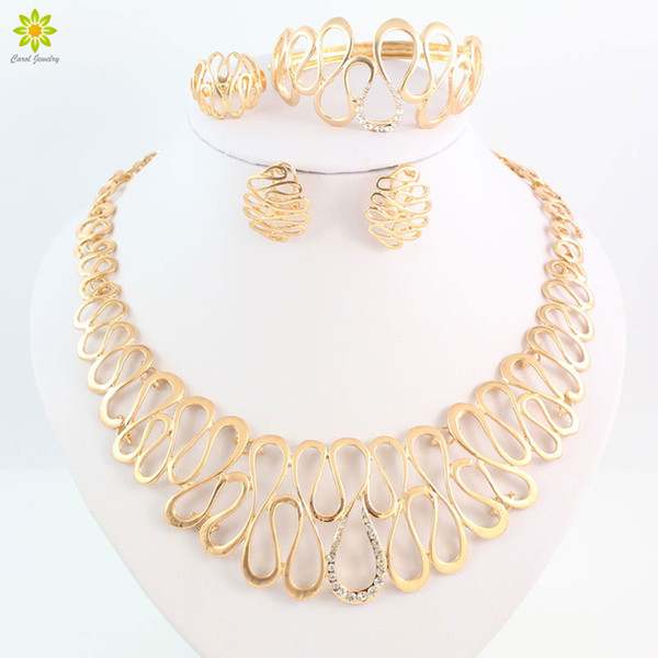 rystal necklace earrings set African Costume Jewelry Sets Gold Color Women Dubai Choker Crystal Necklace Earrings Sets Party Wedding Acce...
