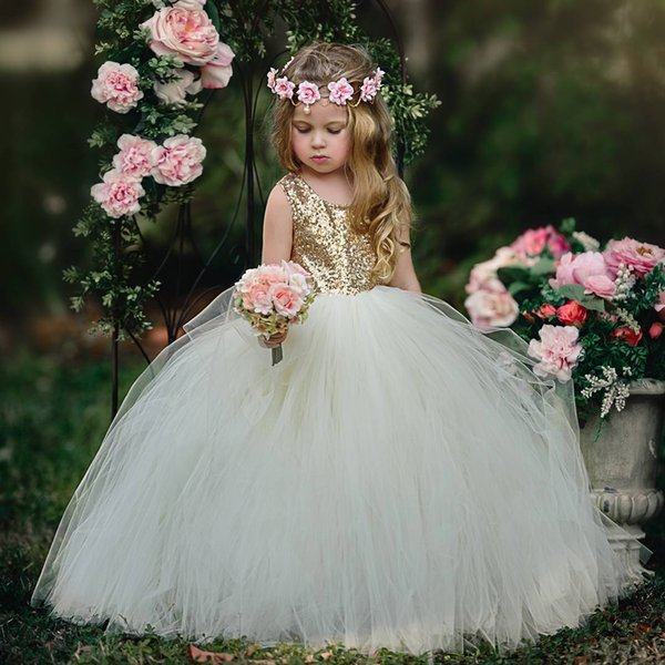 2018 Eye-catching Gold Sequins Ivory Tulle Flower Girl Dresses Scoop Puffy Floor Length Kids Formal Prom Pageant Party Dress