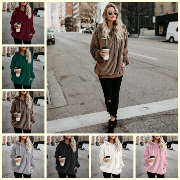 7 Colores de Color Sólido Sherpa Pullover Sudaderas Gruesas Streetwear Mujeres Casual Zipper Collar Sherpa Sudaderas Con Capucha Sudaderas H10