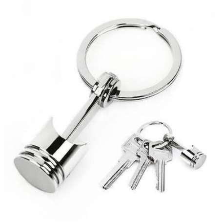 Piston Keychain Keyfob Key Ring Fashion Metal Holder Metal Piston Car Keychain Keyfob Engine Fob Key Chain Ring keyring Silver