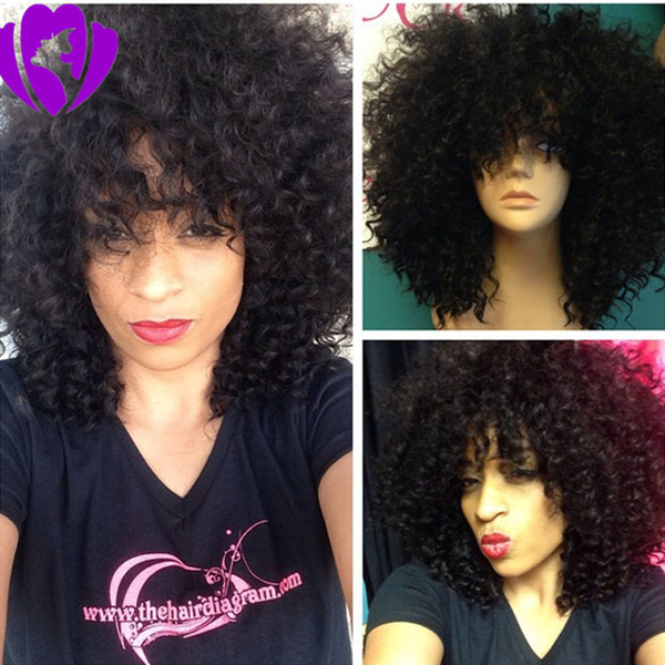 Free shipping black/brown /burgundy /blone Natural Afro wig Kinky Curly Synthetic lace front Wigs For women short wigs with bangs