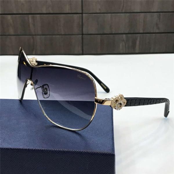 Gafas de sol de gran tamaño para mujer SCH SCH negro dorado gris sombreado Gafas Floweer Sonnenbrille Luxury Designer Gafas de sol Nuevo con estuche