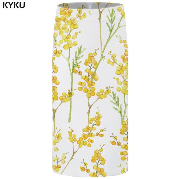 KYKU Brand Flower Skirts Women White Sexy Skirt Vintage Anime Harajuku Pencil Casual Ladies Skirts Womens Korean Large Size 2018