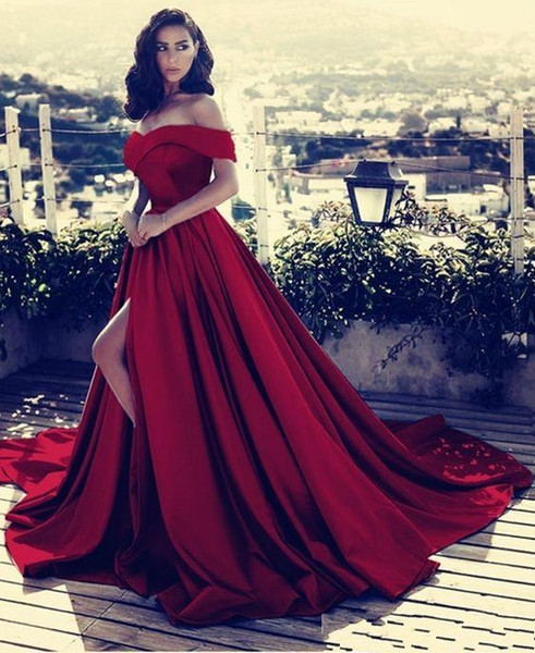 Dark red off the houlder long atin evening dre e 2019 high plit v neck prom gown ve tido de fie ta ba6777