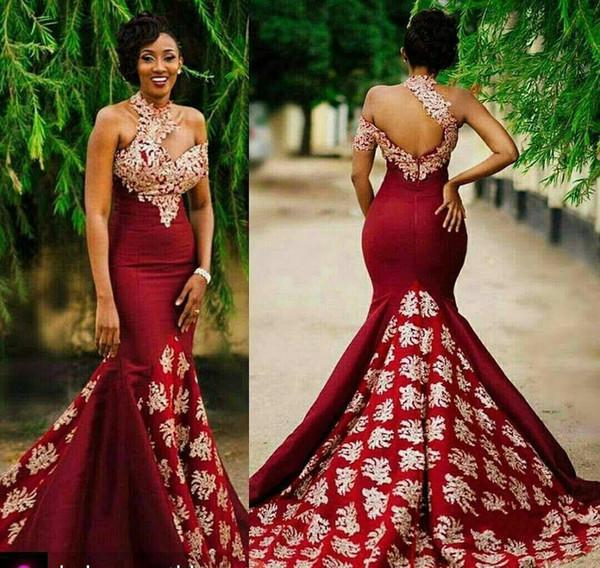 top popular 2018 Dark Red Mermaid Long Evening Dresses High Neck Chapel Train Zipper Back Mermaid Formal Evening Gowns Prom Dresses 2019