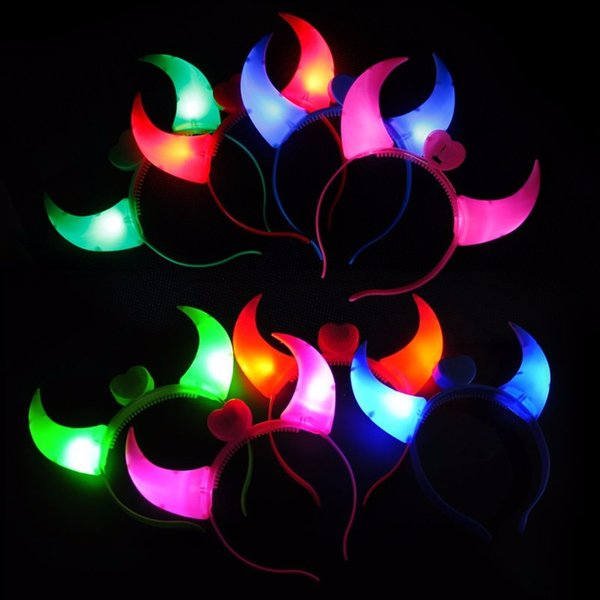 Hairband Party Rave Toys Light-emitting Devil Horn Headband Hairpin For Adults and Kids Halloween Xmas Concert Cheering Supplies Head Bands