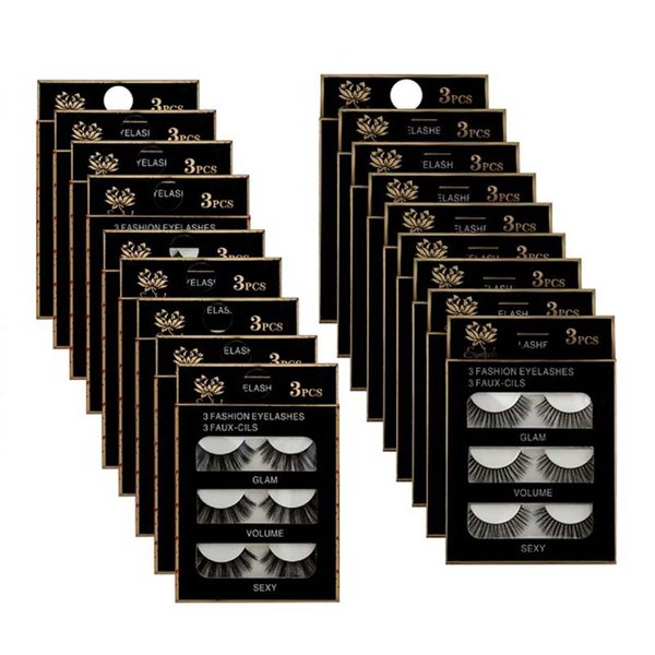 3 Pairs/box Natural Long Black 3D Series Eye Lashes Makeup Handmade Thick Fake False Eyelash 100boxes wholesale