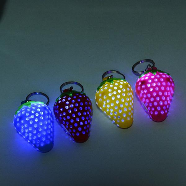 Imitation food pendant exquisite strawberry light Keychain creative little gift promotion