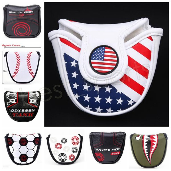 PU Leather Golf Mallet Putter Head Cover Waterproof Embroidery Push Rod Ball Bar Sleeves Golf Accessories GGA551 36PCS