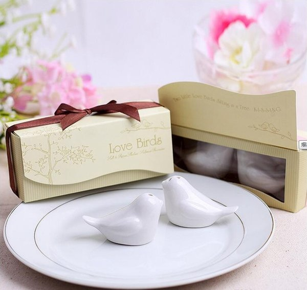 Wedding favors 600pcs=300box Ceramic Wedding Gifts Favors for Guests Love Birds Salt and Pepper Shakers ,Best gift for guests Free Shipping