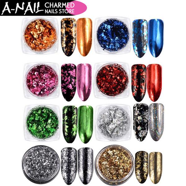 8 couleurs / set Nail Art Glitter Aluminium Flakes Effet Miroir Nail Poudres Paillettes Irrégulières Chrome Pigment Vtirka Décoration