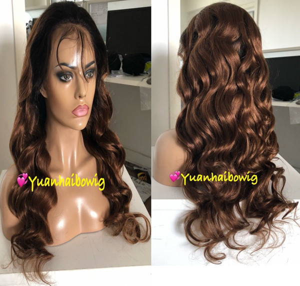 Ombre Brown Full Lace Wigs Fashion Celebrity Wigs Vigin Brazilian Human Hair Lace Front Wigs Loose Wave Free Shipping