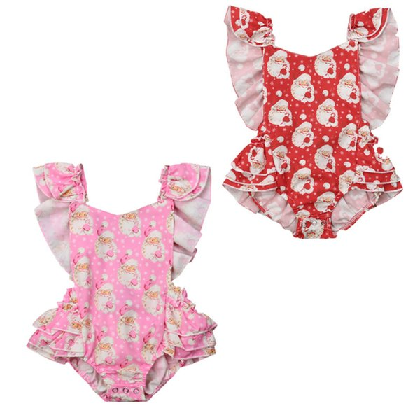 Christmas Sleeveless Newborn Baby Girls Floral Tutu Santa Claus Romper Backcross Jumpsuit Sunsuit Clothes Outfits Set Y18102907