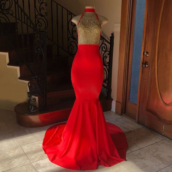 Sexy Red Mermaid Backless Evening Dress Gold Beaded Lace Illusion Elastic Satin Long Formal Dresses 2019 New Women Party Gowns