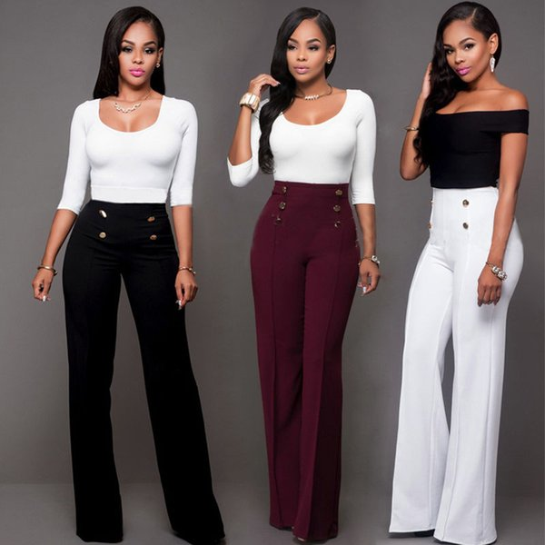 Women Sexy Casual Summer Palazzo High Waist Pants Career Wide Leg Trousers Loose Button 5 Colors Solid Fashion Ladies Pants New