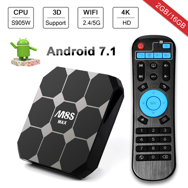 4K M8S Max Android 7.1 TV Box Amlogic S905W 2Gb/16Gb Android 2.4G/5G WiFi Bluetooth M8 Upgrade Media Player