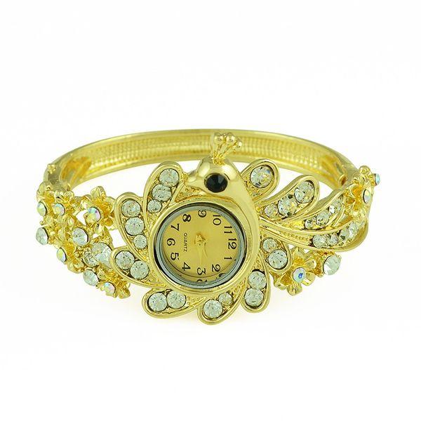 Idealway Hot Sale European Fashion Style Wide Bangle Watch Women Bracelet Charming Peacock Elephant Geometry Rhinestone Bracelets Wristwatch