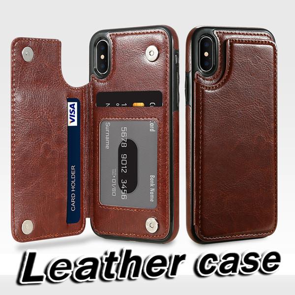 Étui à rabat en cuir rétro pour iPhone X 10 7 8 Plus détenteurs de carte Étui portefeuille vertical Pour iPhone 5 5 s SE 6 6 s Plus