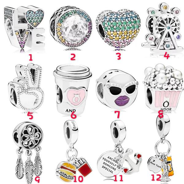 Silver Plated Beads Pendant Charms Fit Brand Bracelet Bangle Heart Ferris Wheel Popcorn Burger Anchor DIY Bracelet Beads free shipping