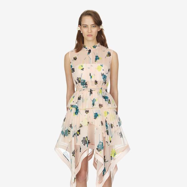 Neue Landebahn Entwurfsfrauen Oansatz sleeveless Druck Blumen Chiffon hohe Taille asymmetrisch midi langes Kleid vestidos S M L