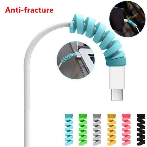 écran de Câble USB Protecteur spirale Winder protection silicone pour téléphone intelligent