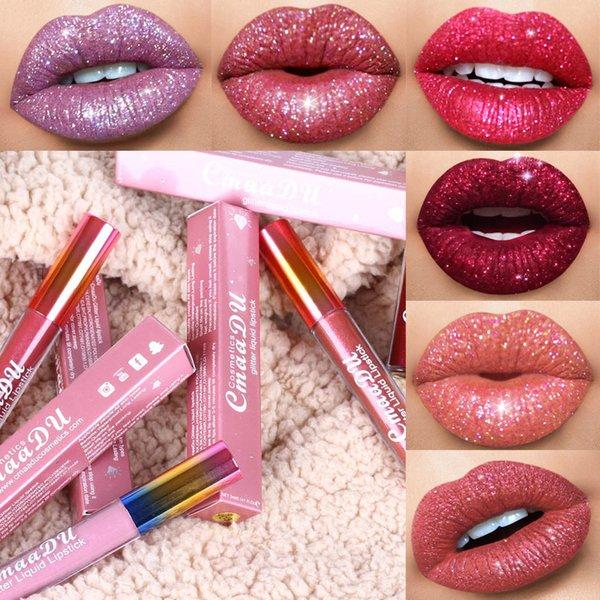Cmaadu Glitter Flip Lip Gloss Velvet Matte Lip Tint 6 Colors Waterproof Long Lasting Diamond Flash Shimmer Liquid Lipstick Q90