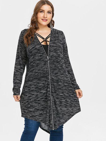 Kenancy 2018 Autumn Plus Size Female Hooded Coat With Strappy Tank Top Zip Up Women Coat Jacket Outerwear Hoodies Sweatshirt 5XL