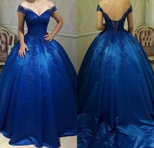 Royal Blue Long Prom Dresses Off Shoulder Lace Appliques Beaded Ball Gown Evening Gowns Satin Special Occasion Sweet 16 Party Wear