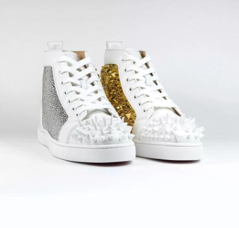 Super Perfect Strass Pik Pik Spike Sneaker in Black-gold,White-gold Famous Red Bottom Round toe,High Top Sneakers Luxury Brand Casual Shoes