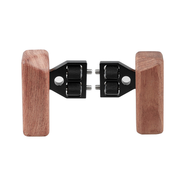 CAMVATE 2pcs DSLR Wooden Handle Grip with connector for DV Video Camera Cage
