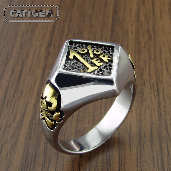 Free Shipping ! Punk Silver White Gold Plated Small 1%ER 316L Stainless Steel Skull Hand Ring Men's Number Rings Jewelry