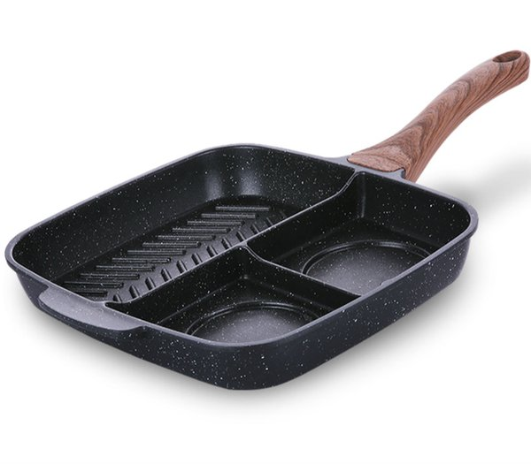 25 *27cm Breakfast Triad Titanium Pan Non -Stick Frying Professional Steak Pan Fried Pot Casting General Use Kitchen Cooking Tools