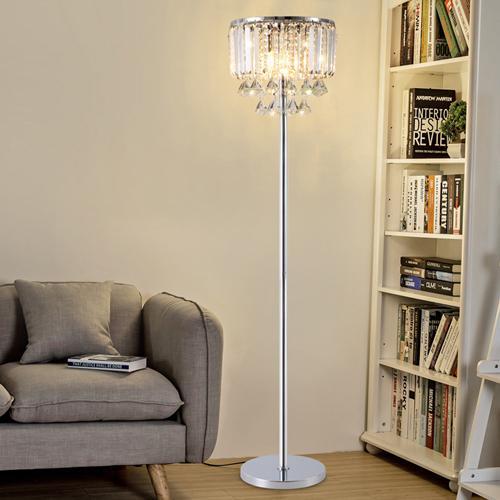 Luxury modern royal American European dimmable led floor lamps hanging K9 crystal new creative design led floor lights chandeliers