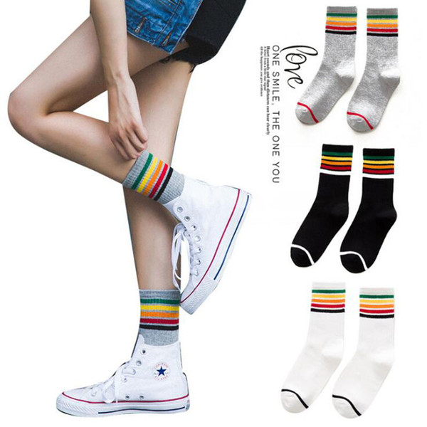 best selling Creative Rainbow Socks Fashion Women Skateboard Stockings Cotton Striped Sports Socks Newest Women Athletic Socks Free Shipping