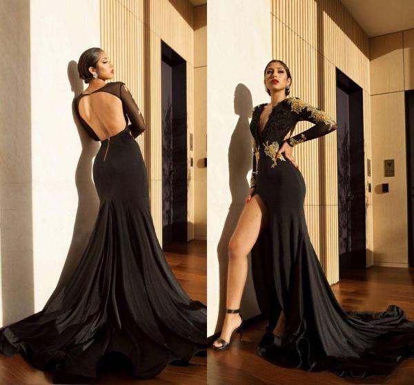 Compre High Slit 2019 Vestidos De Baile Apliques De Encaje Dorado Sirena Sheer Mangas Largas Cuello En V Profundo Espalda Abierta Vestidos De Fiesta