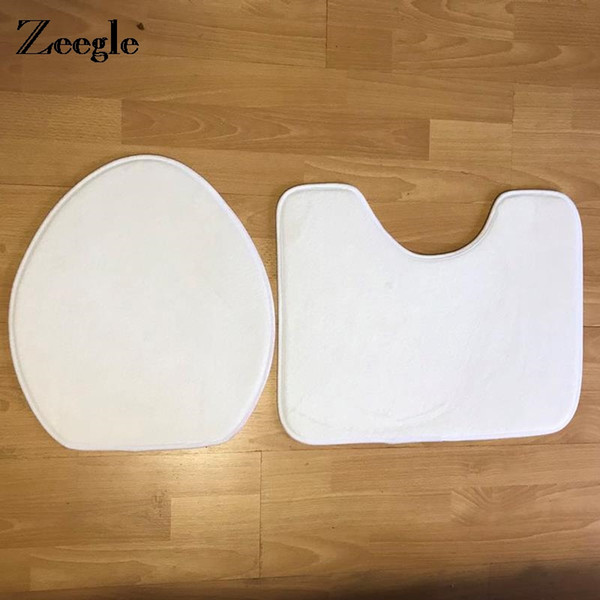 Zeegle 2pcs/set Suede Sponge Toilet Rug Absorbent Soft Memory Foam Mat Anti-Slip Bathroom Carpet Diy Printed White Mat