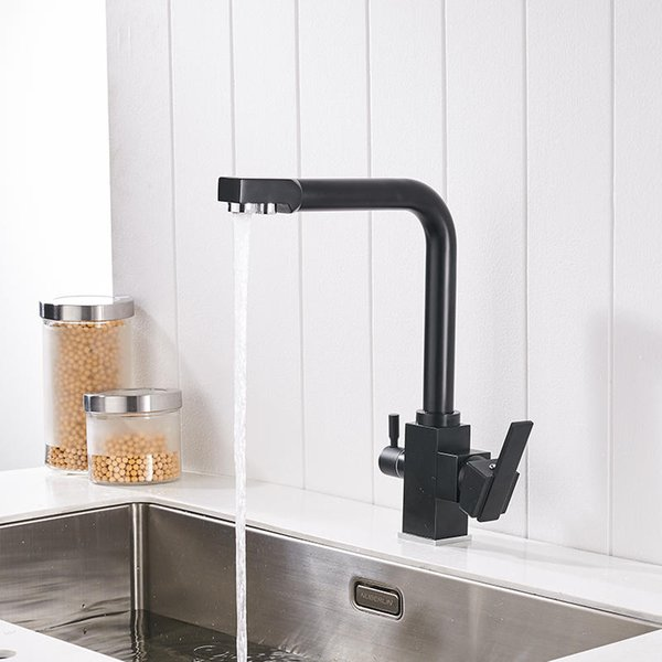 Modern Black Kitchen Faucets 360 Degree Rotation with Water Purification Features Sink Taps Deck Mounted Mixer Tap Crane 88309