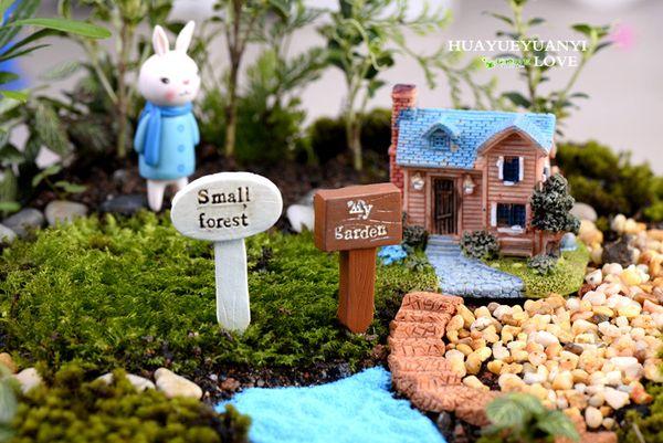 2019 Fairy Garden Micro Landscape Decor Jardin Accessories Resin Direction  Miniature Moss Terrarium Figurines Guidepost Bonsai Pots From ...