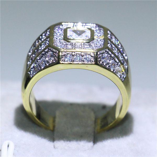 Exquisitos hombres de oro amarillo lleno de joyas de compromiso Princess Cut 1ct blanco Topaz CZ anillos para hombre regalo exquisito tamaño 8-13