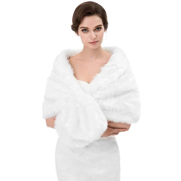 best selling Winter Autumn Cheap Wedding Bridal Wraps Bolero Faux Fur For Wedding Evening Party Prom Jacket Coat Winter White Fur Shawl Wedding CPA1614