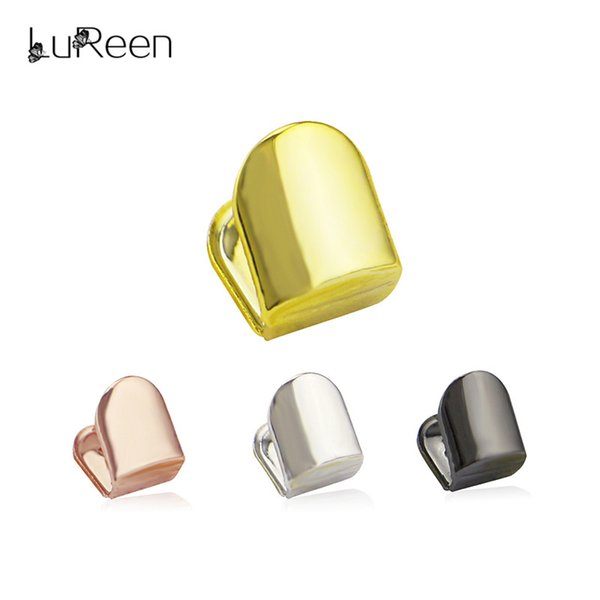 Lureen Hiphop Gold Single Grills Top &Bottom Teeth Grills Dental Vampire Teeth Halloween Tooth Jewelry Party Ld0014