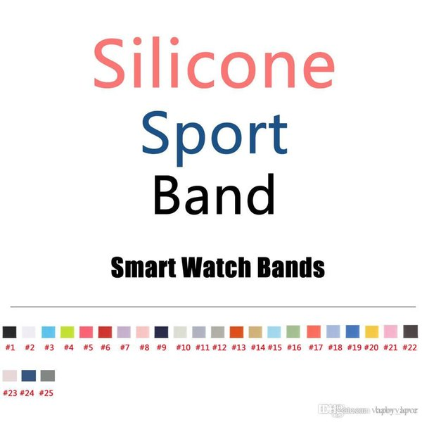 top popular OEM New Design 25 Colors More Silicone Sport Band Replacement For Apple Watch Band Wrist Strap With Adapters Accessories OEM Product Service 2019