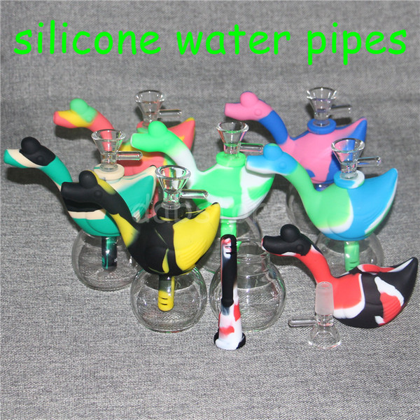 Newest silicone Smoking Pipes Mini Hand Hold Glass Water Hookah Pipe with Bowl Swan Shape Style smoking silicone tobacco Hand Pipes