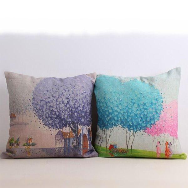 Cushion Cover Purple Blue Tree Pillowcase Cotton Linen Woven Car Chair Seat 18x18 inches Throw Decorative Pillows Cushion Covers